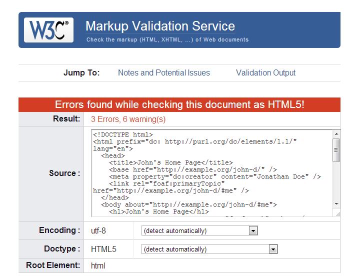Ergebnis im Validator des W3C