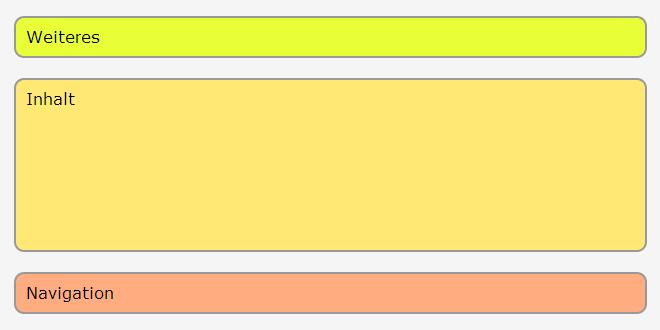 Drei Boxen untereinander, in umgekehrter Reihenfolge wie im Quelltext angezeigt