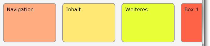 Fünf Boxen nebeneinander, die rechts vom Browserfenster nicht angezeigt wird. Die vierte wird nur teilweise, die fünfte gar nicht angezeigt