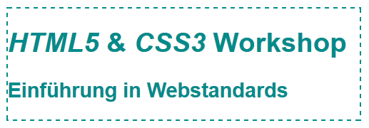 Darstellung der h1 und h2 mit oben genanntem CSS