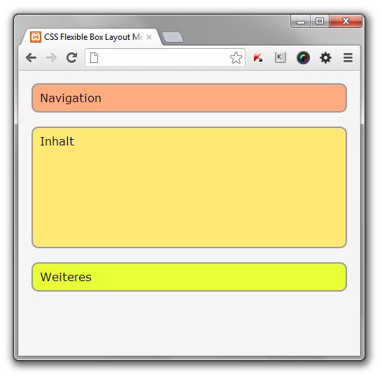 Das Browserfenster ist schmaler als in Abbildung 15. Hier werden die Boxen untereinander angezeigt