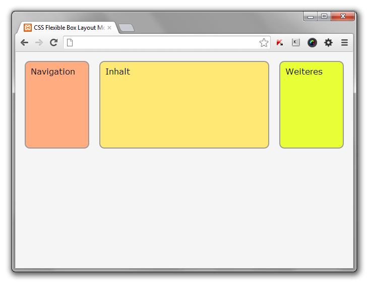 Drei Boxen nebeneinander im Kontext des Browserfensters