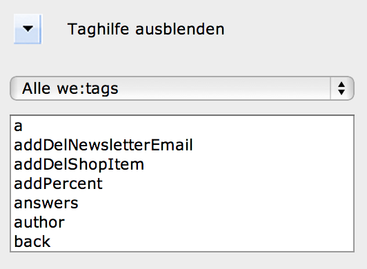 webEdition - Screenshot Tag-Hilfe