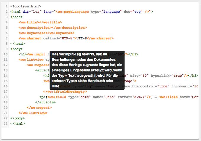 webEdition - Screenshot Template Tooltip