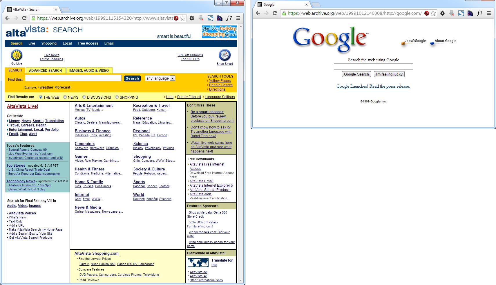 Das 1999er User Interface von AltaVista und Google im Vergleich