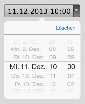 Anzeige eines Drehrädchen beim type-Parameter datetime auf dem iPad