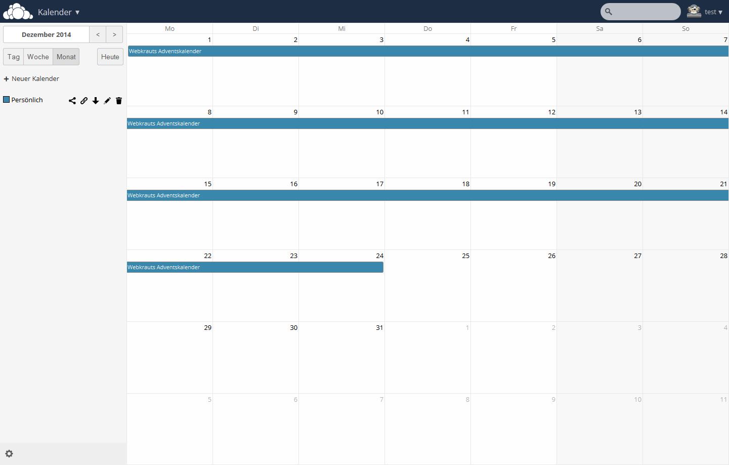 ownCloud Kalender Demo auf demo.owncloud.org