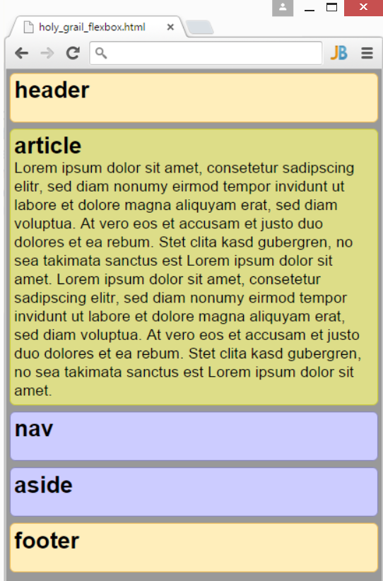 Holy-Grail-Layout: einspaltig