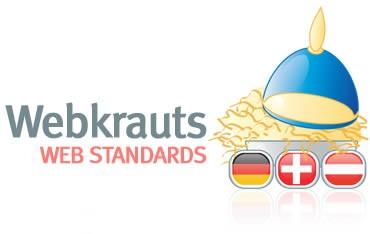 Ein erster Entwurf des Webkrauts-Logos bestand aus einem Topf voller Sauerkraut, gekrönt von einer Pickelhaube. Darunter die Flaggen von Deutschland, Österreich und der Schweiz.