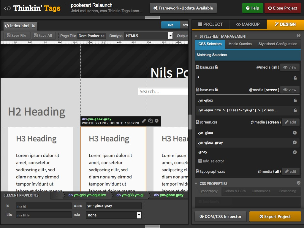 "Screenshot des Layout- und Prototyping-Tools ""Thinkin'Tags"""