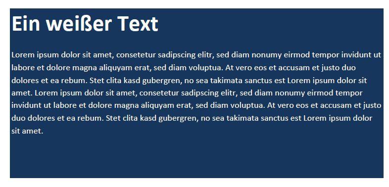 Weißer Text auf dunkelblauem Hintergrund