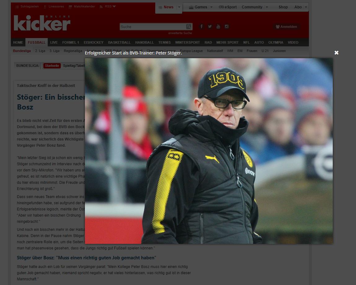 Vergrößertes modale Darstellung von Peter Stöger mit der Bildbeschriftung: Erfolgreicher Start als BVB-Trainer