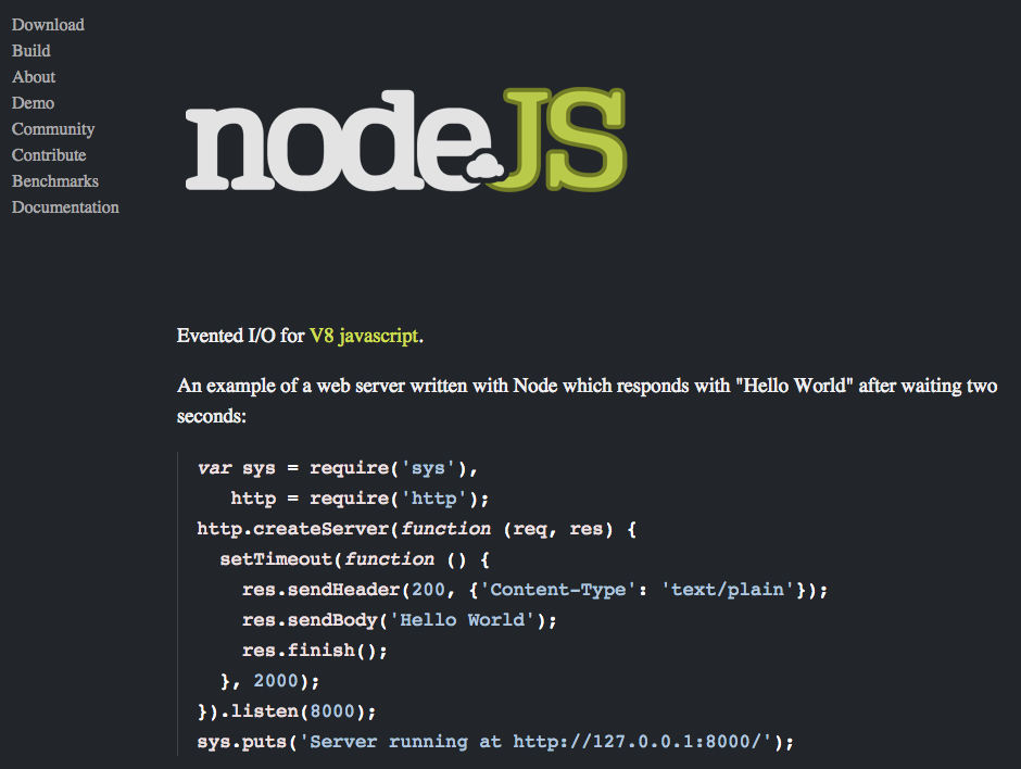 Screenshot der Node.js-Website aus dem Jahr 2010: »Evented Input/Output for V8 JavaScript.«