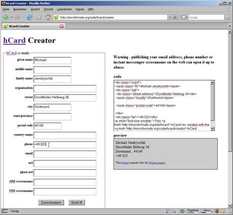 hCard Creator im Einsatz