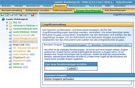 Screenshot: MODx, Rechteverwaltung