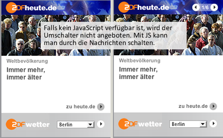 Falls kein JavaScript verfügbar ist, wird der Umschalter nicht angeboten. Mit JS kann man durch die Nachrichten schalten.