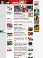 Screenshot der Webseite von Bayer Leverkusen, verkleinert
