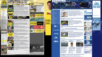 Screenshots der Webseiten von Borussia Dortmund und dem FC Schalke '04, verkleinert