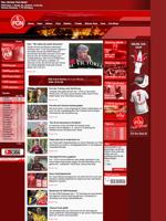 Screenshot der Webseite des 1. FC Nürnberg, verkleinert