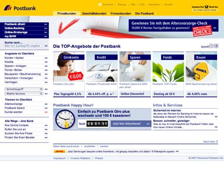 Screenshot der Webseite der Postbank, verkleinert