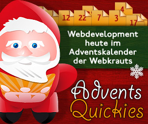 Banner: Webdevelopment heute im Adventskalender der Webkrauts