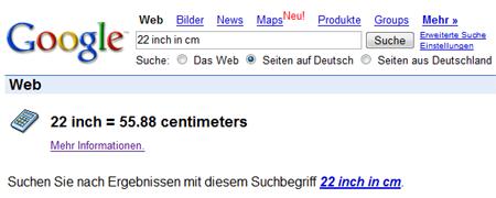 Screenshot der Einheitenumrechung in Google