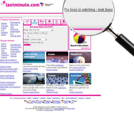 Screenshot: lastminute.com (alte Fassung)
