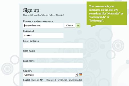 Screenshot: Formulartipp auf pownce.com