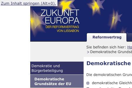 Zukunft Europa: Detailansicht Tastaturnavigation