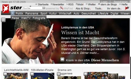 Ansicht der Stern.de-Titelseite bei vergrößertem Text
