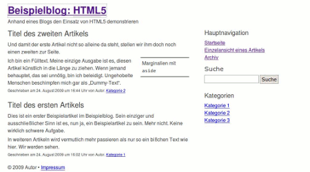 Screenshot des Beispielblogs zum Artikel