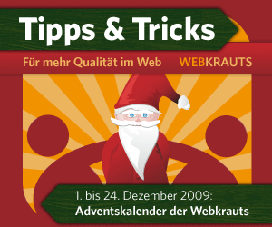 Banner Webkrauts-Adventskalender 2009, 300 x 250 Pixel