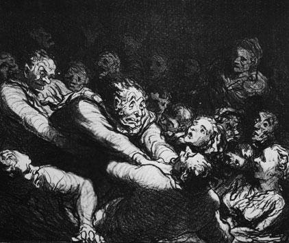Illustration: Honoré Daumier - »Literarische Diskussion auf der zweiten Galerie«