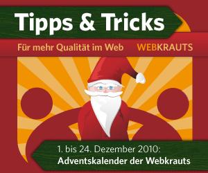 Banner Webkrauts-Adventskalender 2010, 300 x 250 Pixel